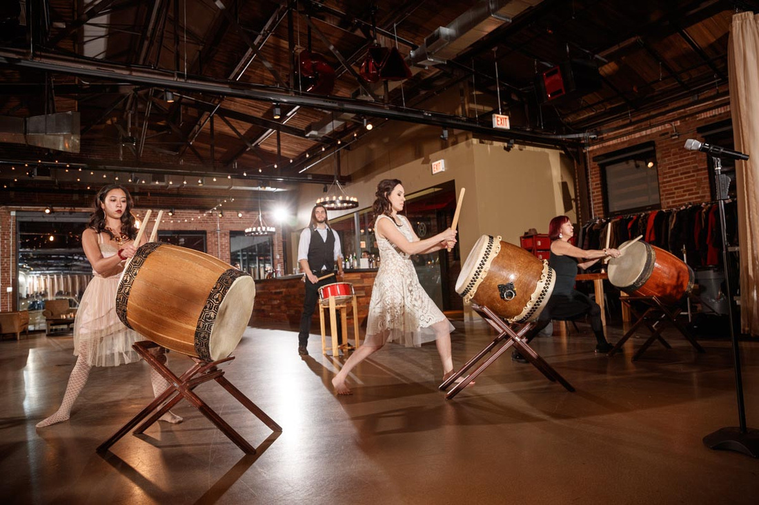 Emi and her family give a Taiko drum performance at Ovation in Chicago