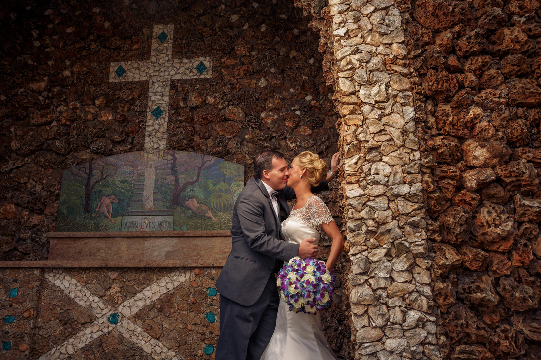 Wedding photographer, portrait ,Carmelite Fathers ,shrine,Munster,Indiana,bride,groom,kiss,dress,tuxedo,photography