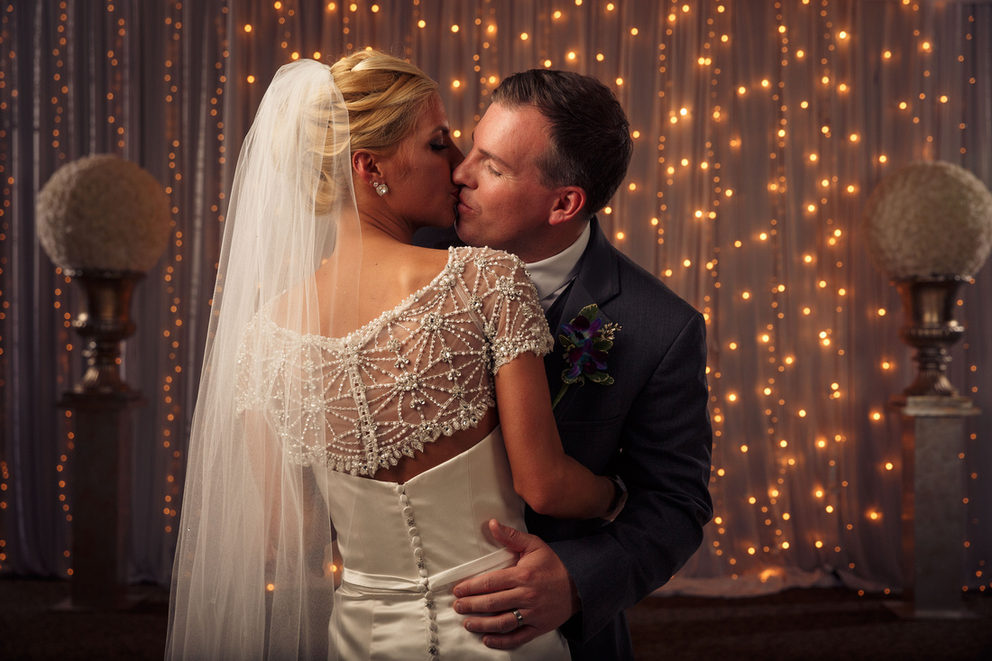 Wedding photographer portrait Julie and Jared at Wicker Memorial Park banquet hall in Munster Indiana