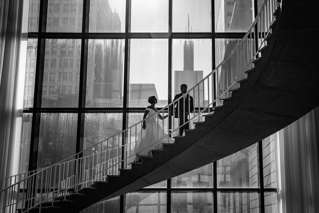 Art Institute of Chicago Museum Wedding with Jason and Meridith on the staircase