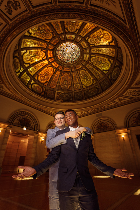 """smile,Wedding,gay,LGBT,""""chicago cultural center"""",Illinois,photographer,photography,portrait,grooms,stained,glass,dome"""